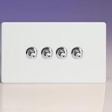 Négyes  váltó/egysarkú  karos kapcsoló fehér műanyag