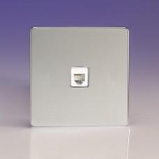 Szimpla RJ12 telefon aljzat fényes króm