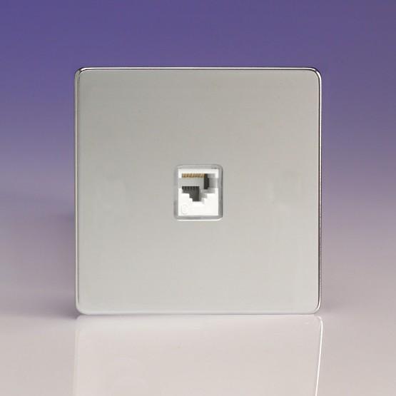 Szimpla RJ45 CAt5 adatátviteli aljzat fényes króm