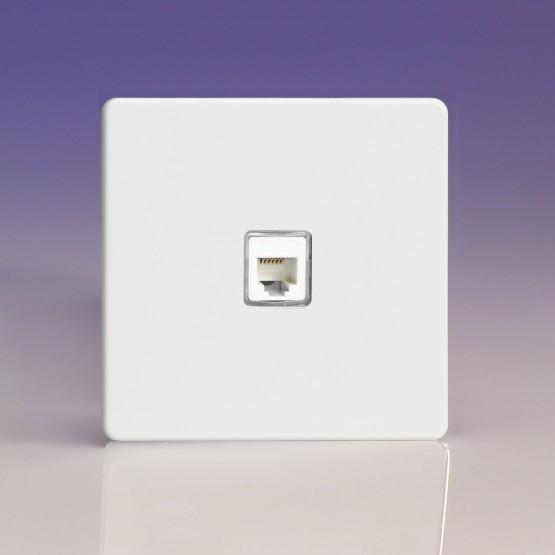 Szimpla RJ12 telefon aljzat fehér fém