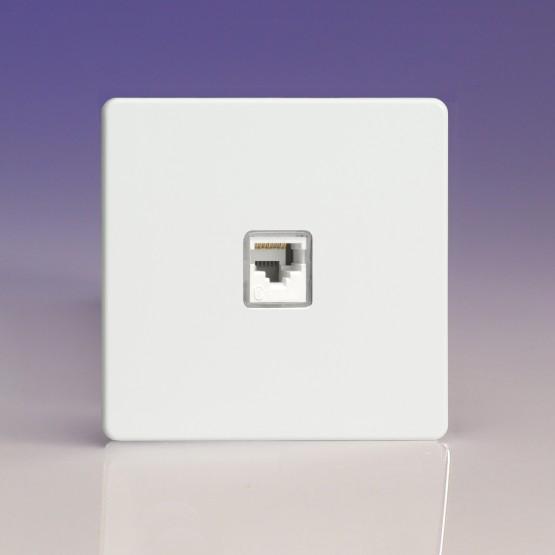 Szimpla RJ45 CAt6 adatátviteli aljzat fehér fém