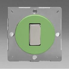Szines,  keretbe szerelhető szimpla váltó/egysarkú billenő kapcsoló zöld (króm inzerttel)