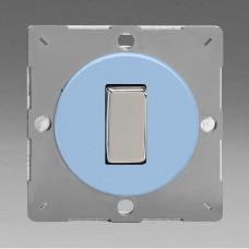 Szines,  keretbe szerelhető szimpla váltó/egysarkú billenő kapcsoló világoskék (króm inzerttel)