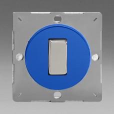 Szines,  keretbe szerelhető szimpla váltó/egysarkú billenő kapcsoló kék (króm inzerttel)
