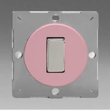 Szines,  keretbe szerelhető szimpla váltó/egysarkú billenő kapcsoló rózsaszín (króm inzerttel)