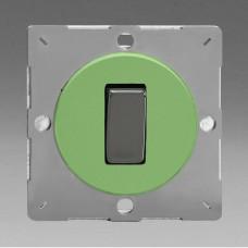 Szines,  keretbe szerelhető szimpla váltó/egysarkú billenő kapcsoló zöld (iridium inzerttel)