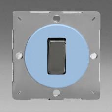 Szines,  keretbe szerelhető szimpla váltó/egysarkú billenő kapcsoló világoskék (iridium inzerttel)