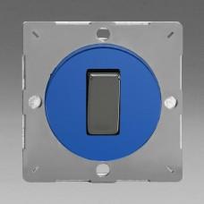 Szines,  keretbe szerelhető szimpla váltó/egysarkú billenő kapcsoló kék (iridium inzerttel)