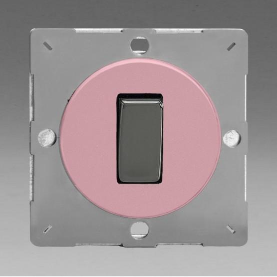 Szines,  keretbe szerelhető szimpla váltó/egysarkú billenő kapcsoló rózsaszín (iridium inzerttel)