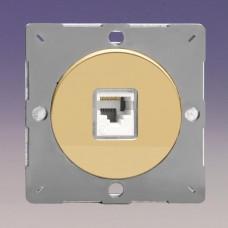 Keretbe szerelhető zimpla RJ45 CAt5 adatátviteli aljzat inzert fényes réz