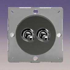 Keretbe szerelhető dupla  váltó/egysarkú karos kapcsoló iridium