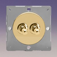 Grid double  one or two way toggle switch  varnished brass